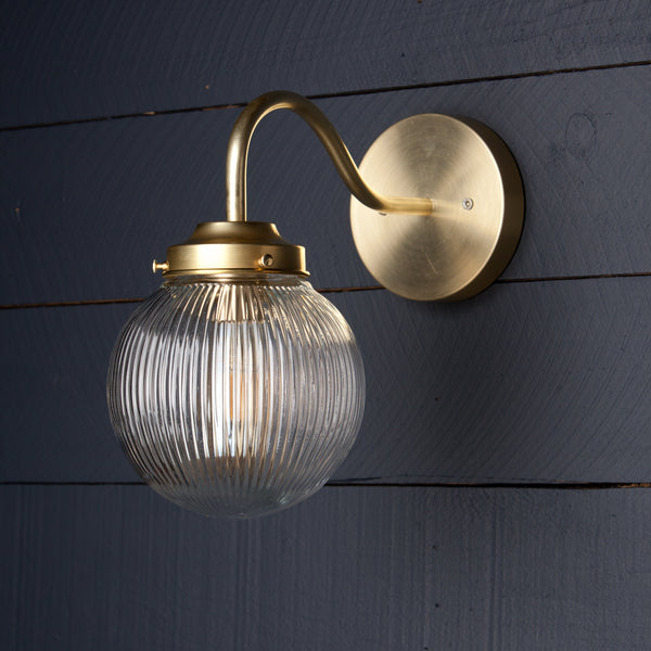 Holophane Glass Globe Brass Wall Sconce Fixture