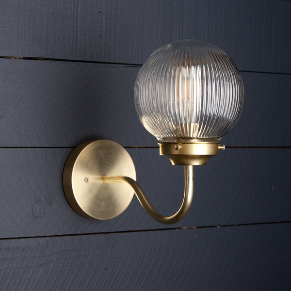 Brass Ribbed Globe Wall Fixture