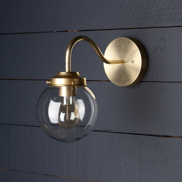 Glass Globe Brass Wall Sconce