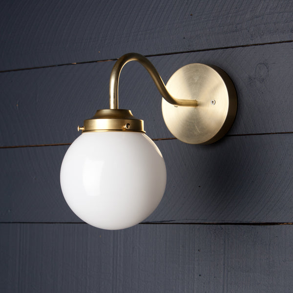 Milk Glass Globe Brass Wall Sconce Fixture