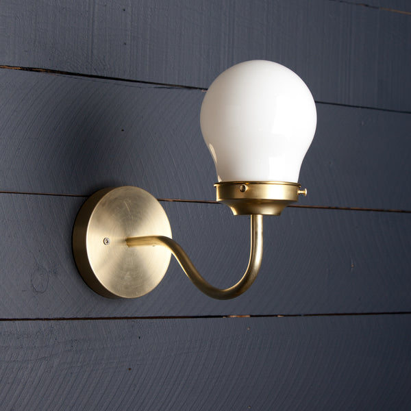 Vintage Brass Milk Glass Sconce