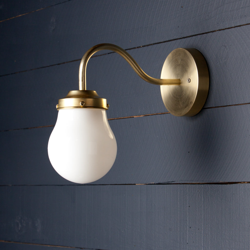 Gooseneck Teardrop Milk Glass Wall Fixture