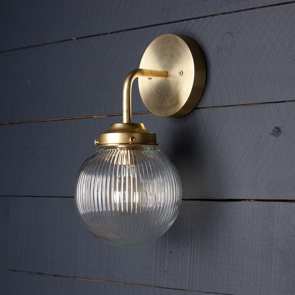 Vintage Brass Holophane Wall Sconce