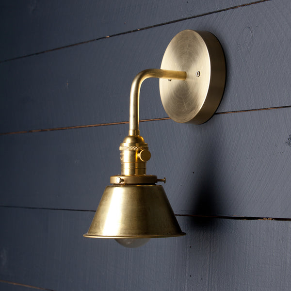 Small Brass Shade Wall Sconce