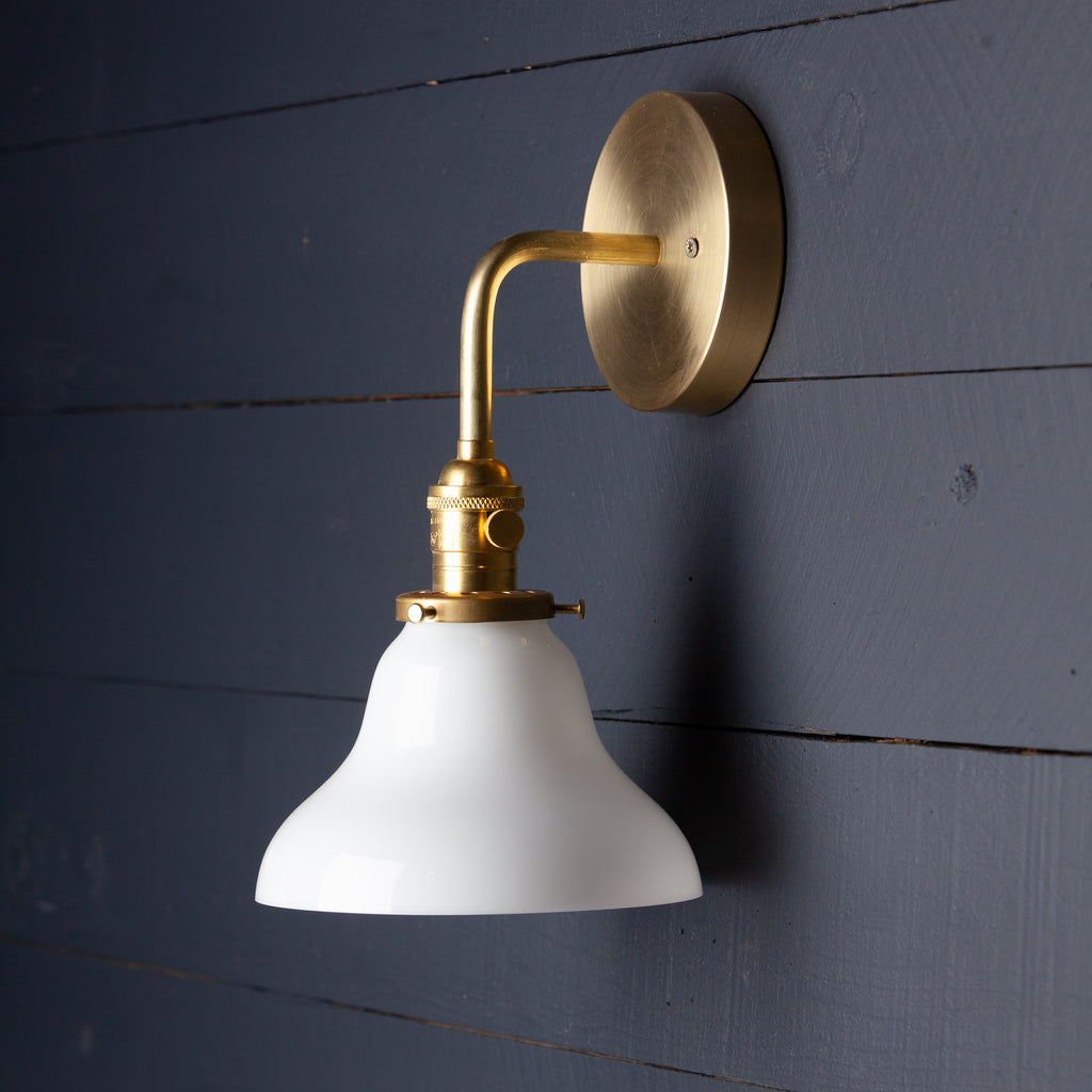 Milk Glass Bell Shade Brass Wall Sconce