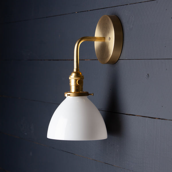 Milk Glass Dome Shade Brass Wall Sconce
