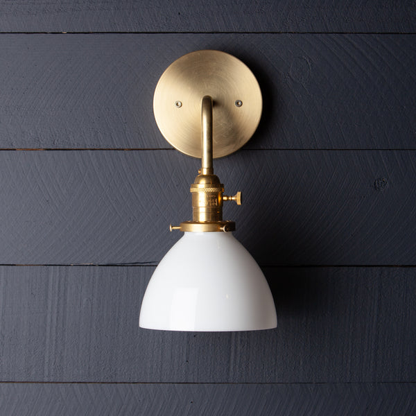 Milk Glass Wall Sconce Raw Brass
