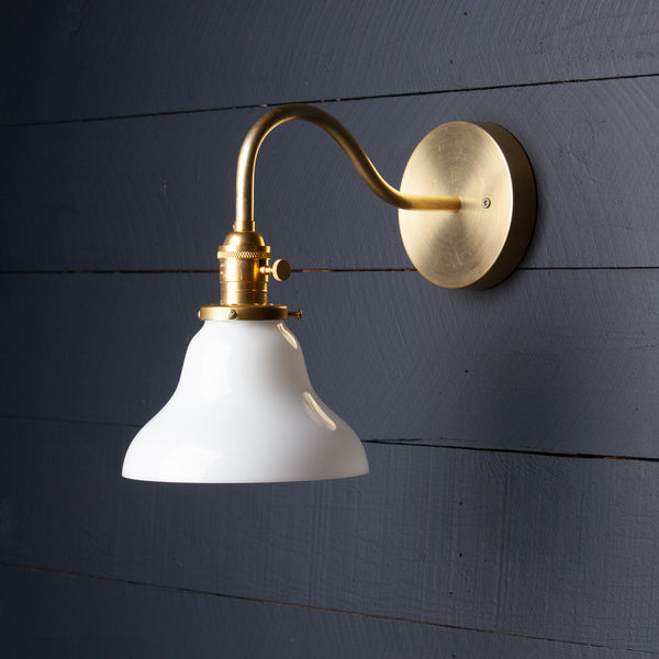 Milk Glass Bell Shade Gooseneck Brass Wall Sconce