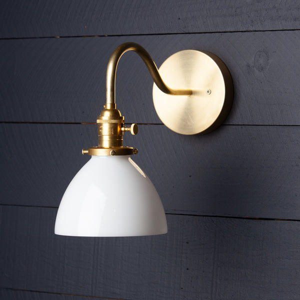 Milk Glass Shade Gooseneck Raw Brass Wall Sconce Light