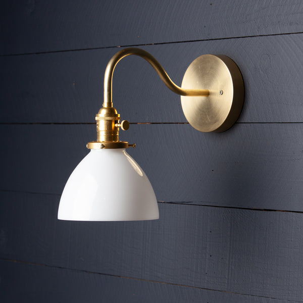 Milk Glass Dome Shade Gooseneck Brass Wall Sconce