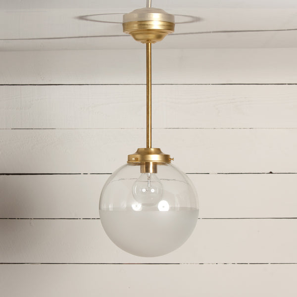 Brass Pendant Glass Globe Half Clear / Half Frosted