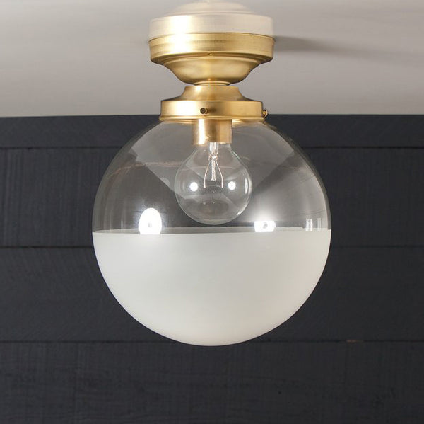 Semi Flush Mount Brass Glass Globe Ceiling Light - Half Frosted