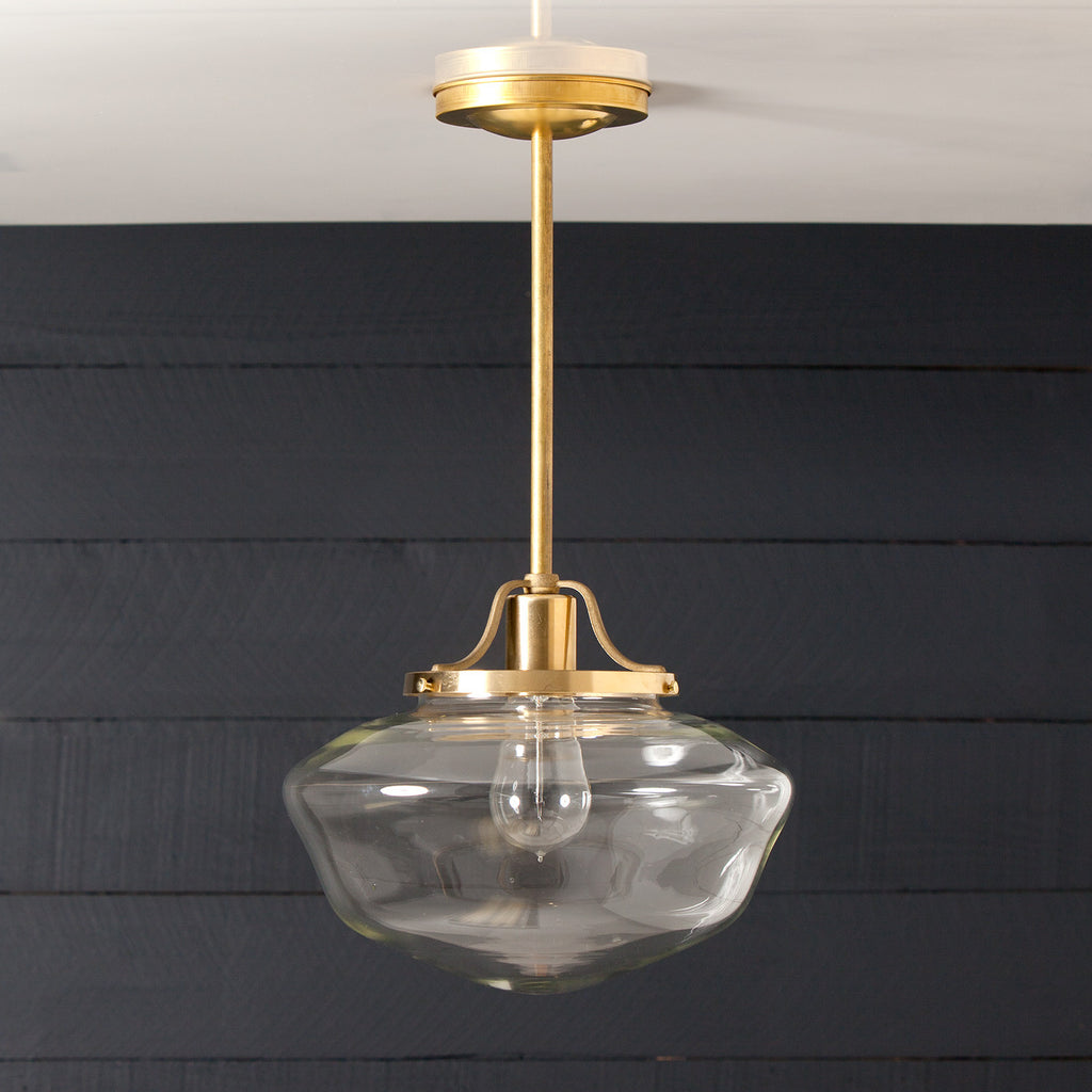 Brass Pendant Clear Glass Schoolhouse