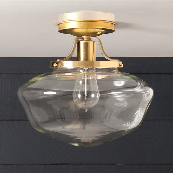 Semi Flush Brass Pendant Clear Glass Schoolhouse Ceiling Light