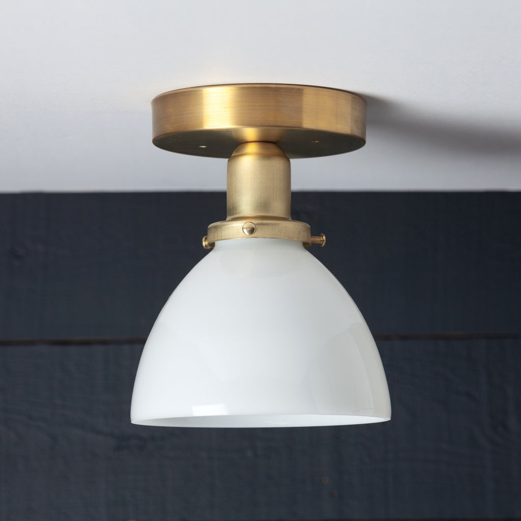 Milk Glass Dome Shade Brass Ceiling Light