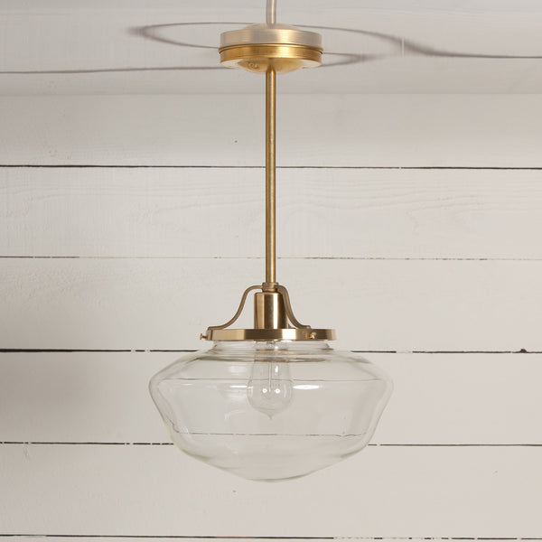 Brass Pendant Schoolhouse Light