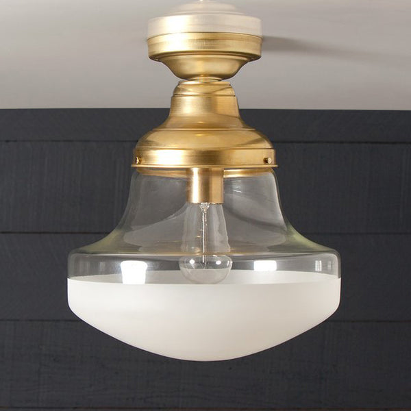 Semi Flush Mount Brass Clear and Frosted Glass Shade Ceiling Light