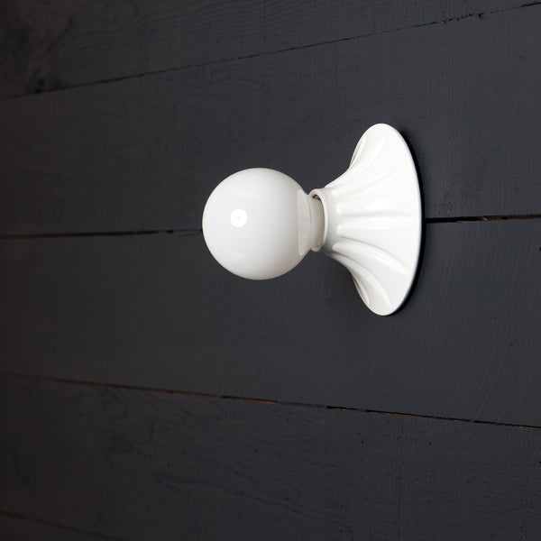 Vintage White Bare Bulb Wall Sconce