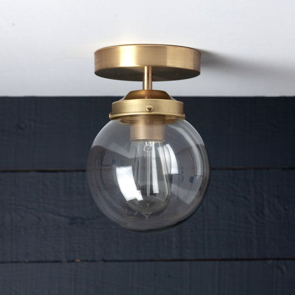 Brass Clear Globe Ceiling Light Fixture