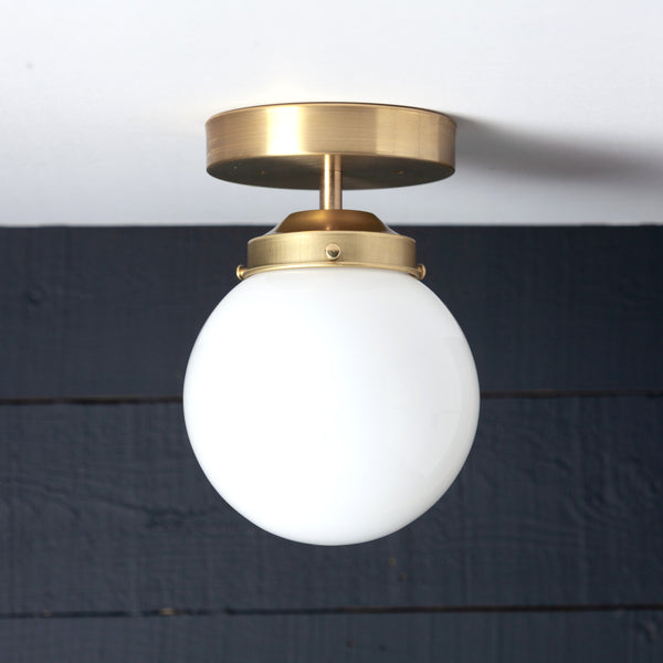 Opal Milk Glass Globe Brass Base Ceiling Light
