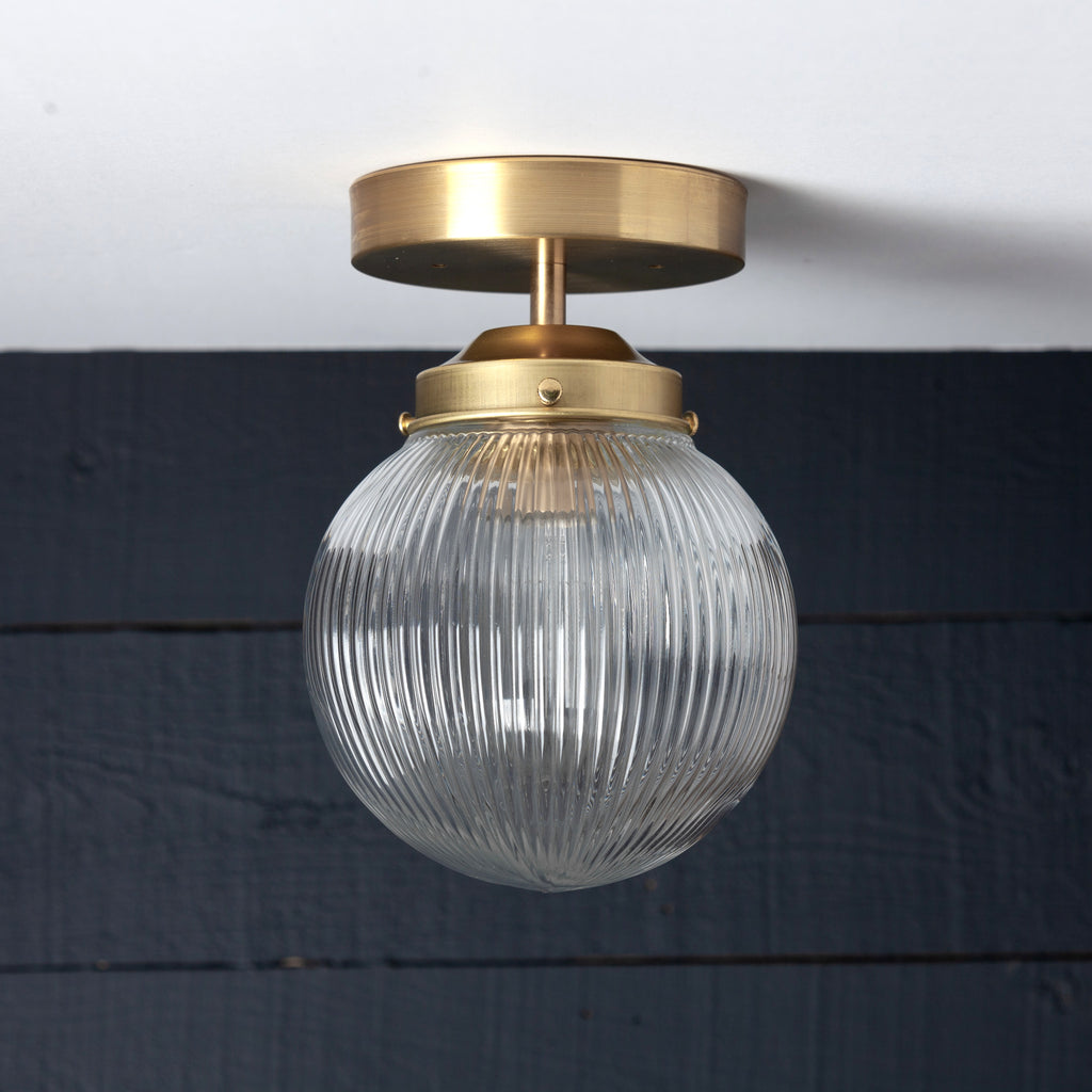 Brass Holophane Clear Glass Globe Ceiling Mount