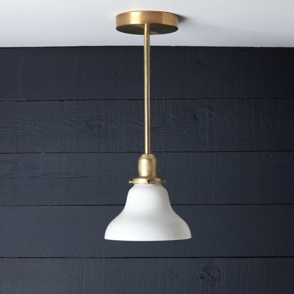 Milk Glass Bell Shade Brass Pendant Light