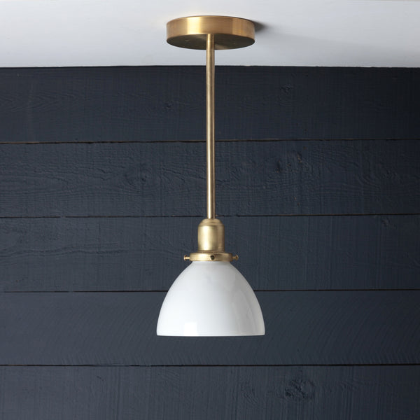 Brass Pendant Light Milk Glass Dome Shade