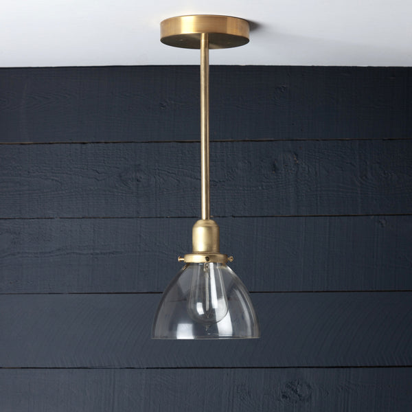 Brass Pendant Light Clear Glass Dome Shade
