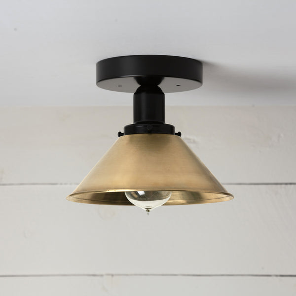 Brass Shade Black Ceiling Light
