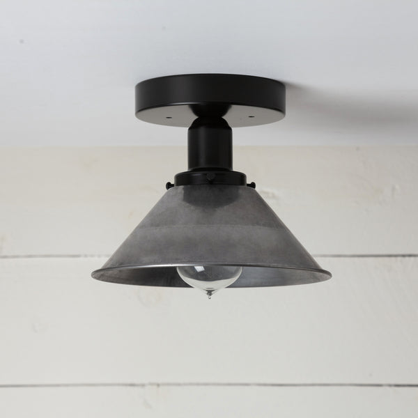 Steel Shade Black Ceiling Light