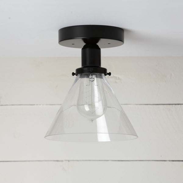 Glass Cone Shade Matte Black Ceiling Light