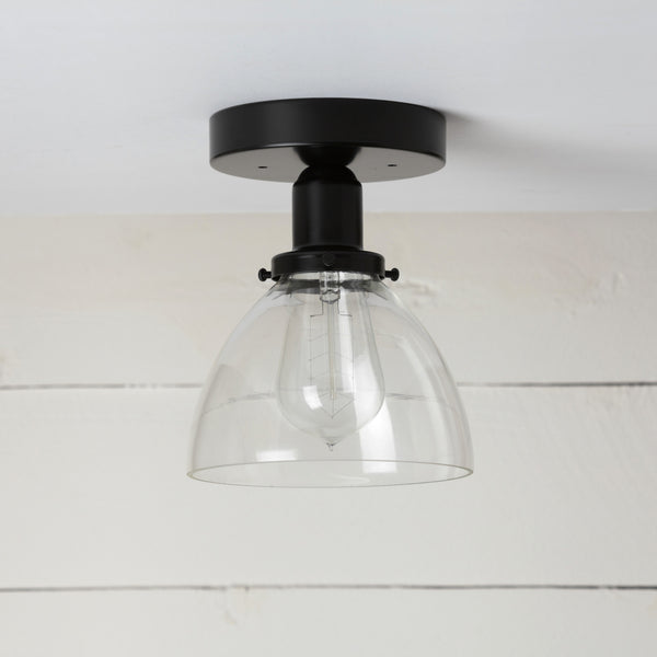 Clear Glass Dome Shade Black Ceiling Light
