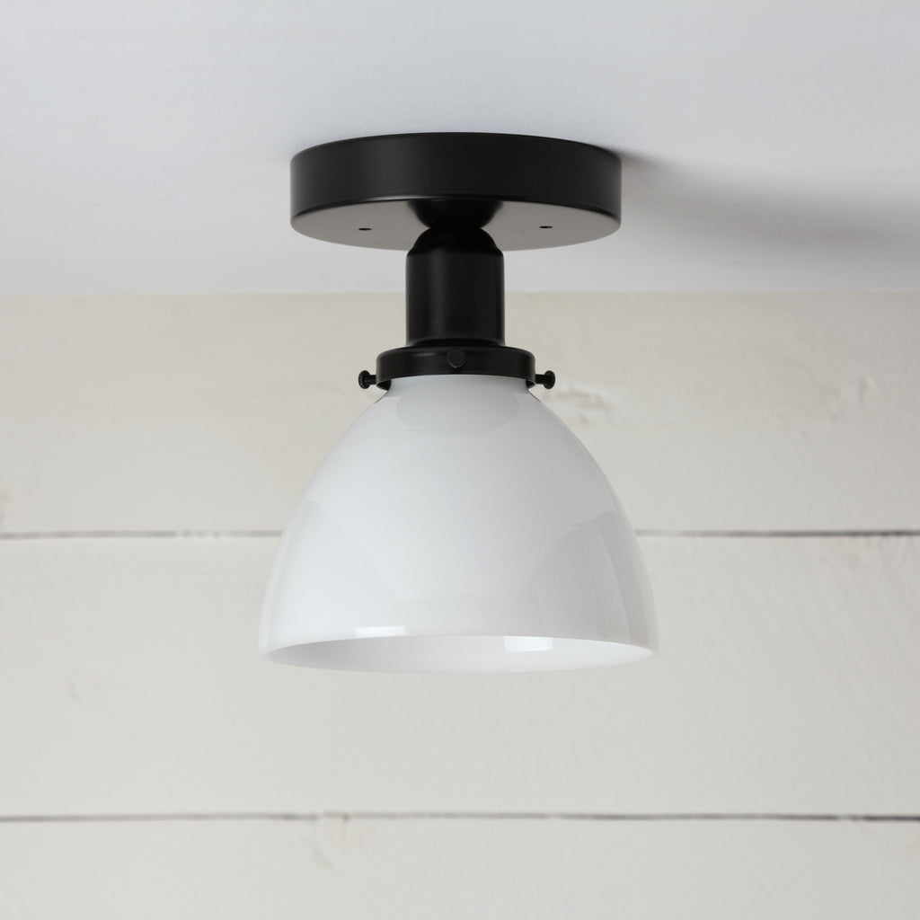 Milk Glass Dome Shade Black Ceiling Light