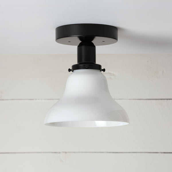 Milk Glass Bell Shade Black Ceiling Light