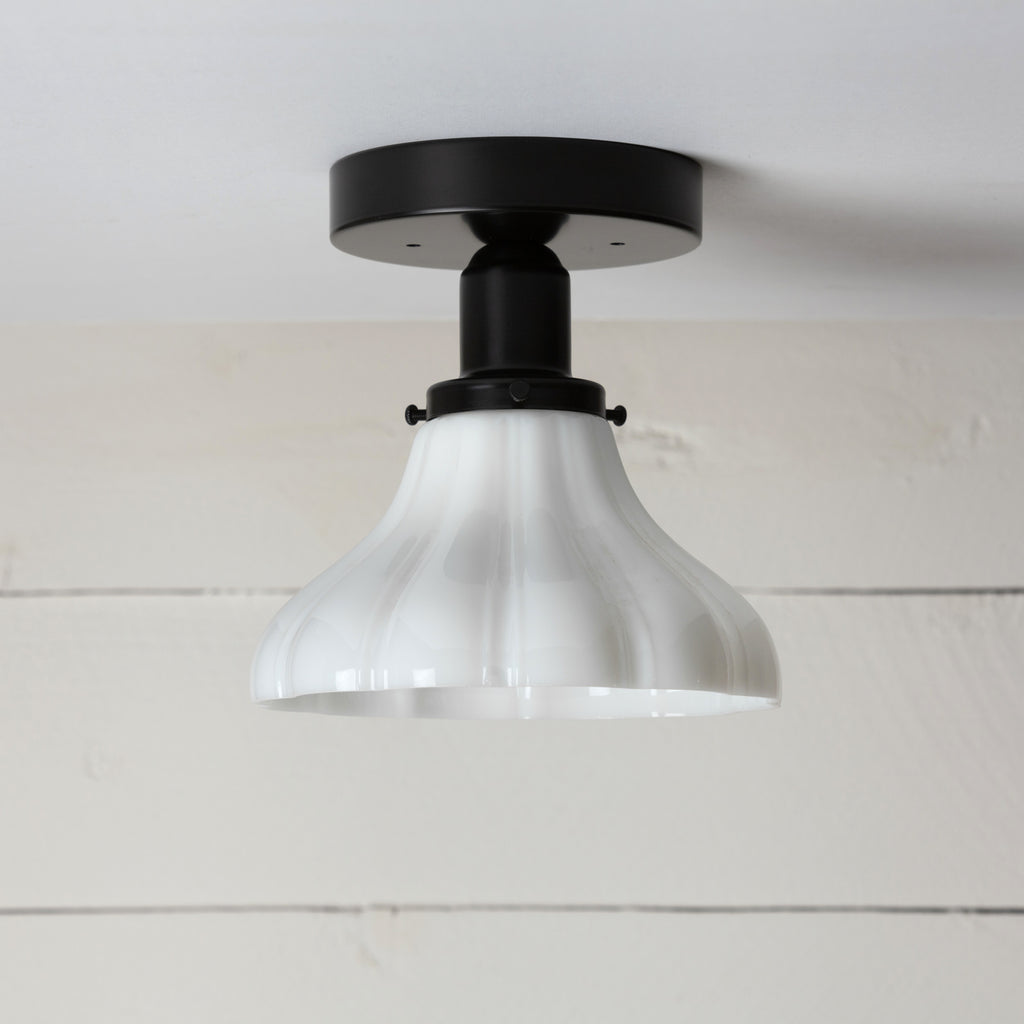 Small Vintage Milk Glass Ceiling Light Black Base