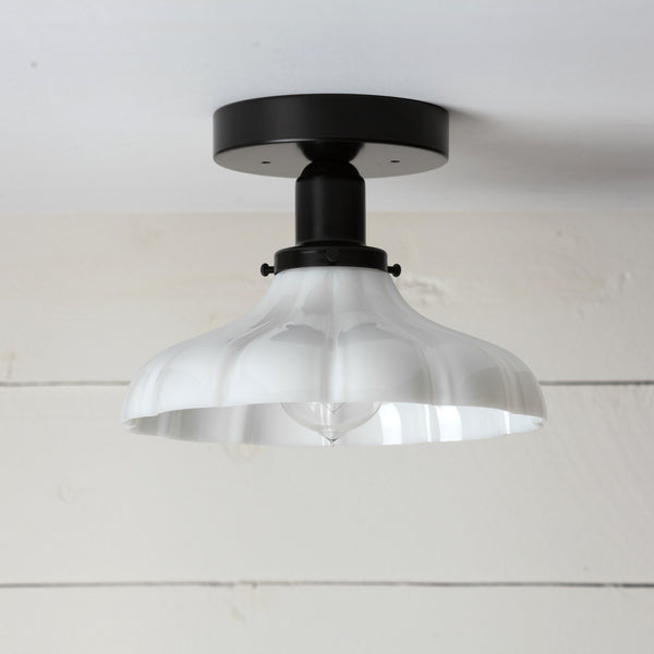 Vintage Milk Glass Ceiling Light Matte Black Base