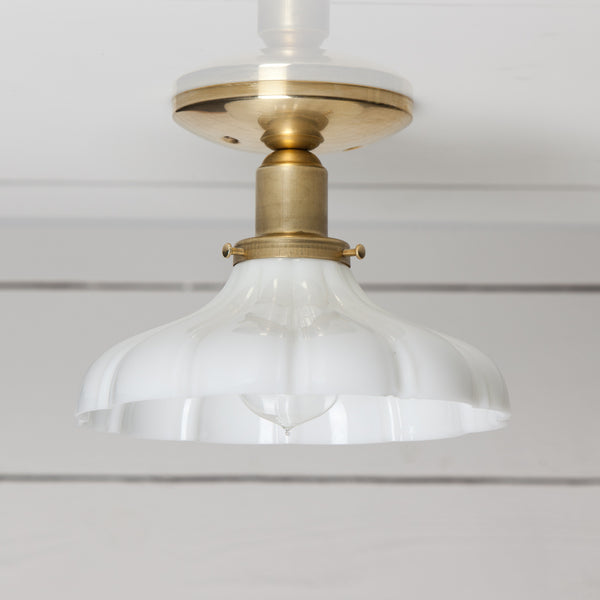 Vintage Milk Glass Ceiling Light Brass Base