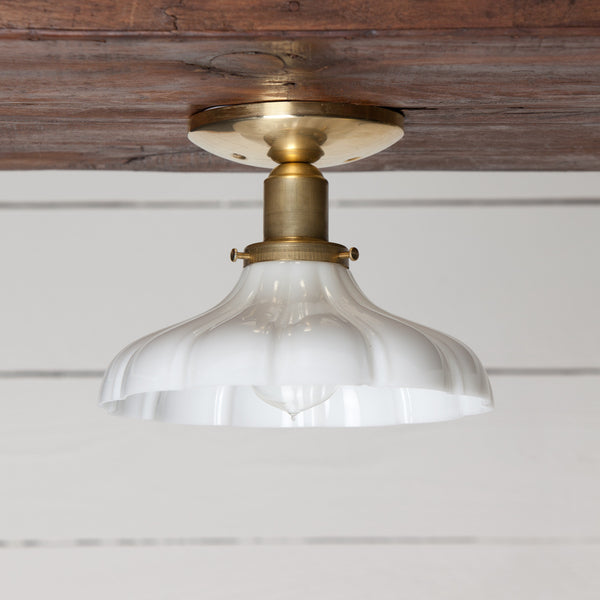 Milk Glass Shade Ceiling Light Brass Base