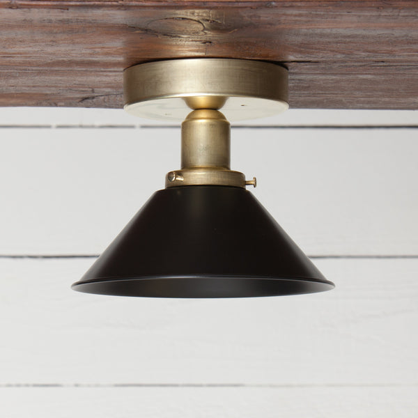 Black Shade Brass Ceiling Light