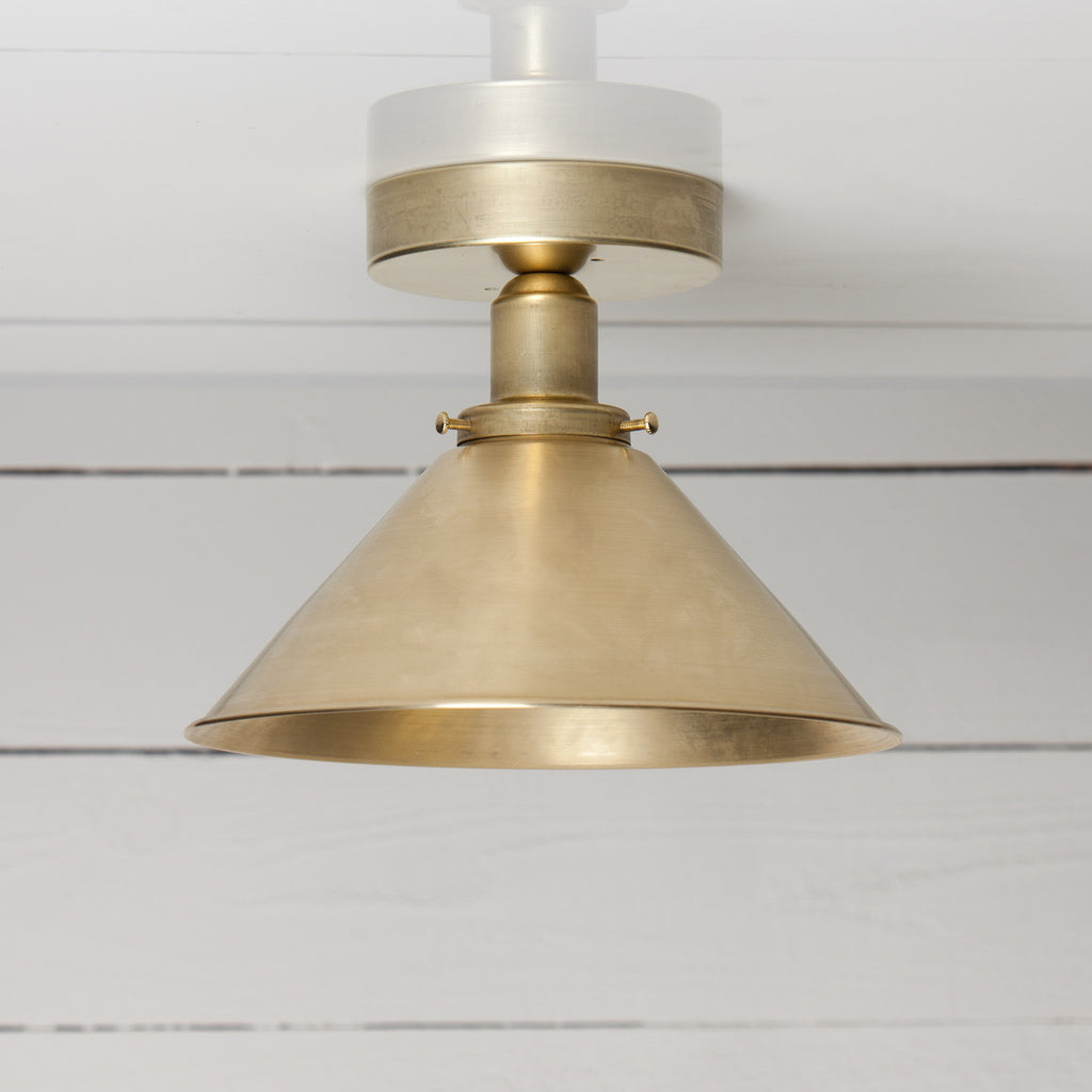 Large Brass Shade Ceiling Light
