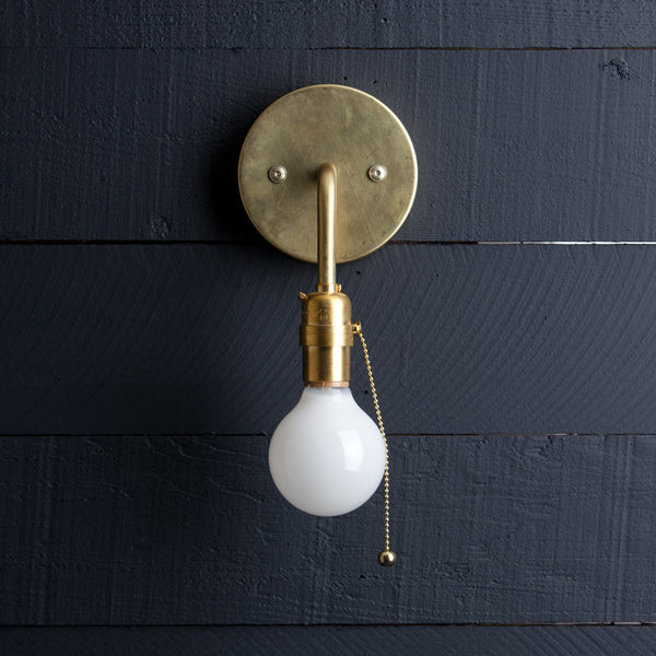 Mid Century Brass Wall Sconce - Pull Chain