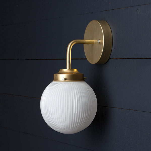 Holophane Glass Globe Brass Wall Sconce Two Kings Amp Co