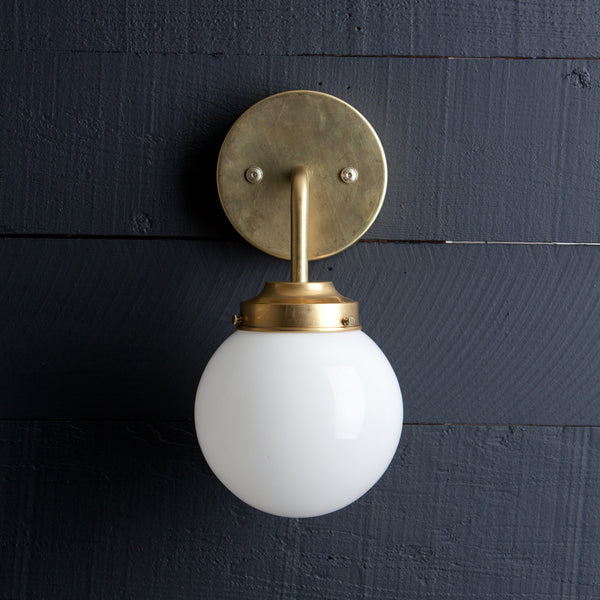Milk Glass Globe Brass Wall Sconce Two Kings Amp Co