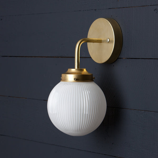 Holophane Glass Globe Brass Wall Sconce