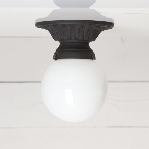 Milk Glass Globe Vintage Ceiling Mount