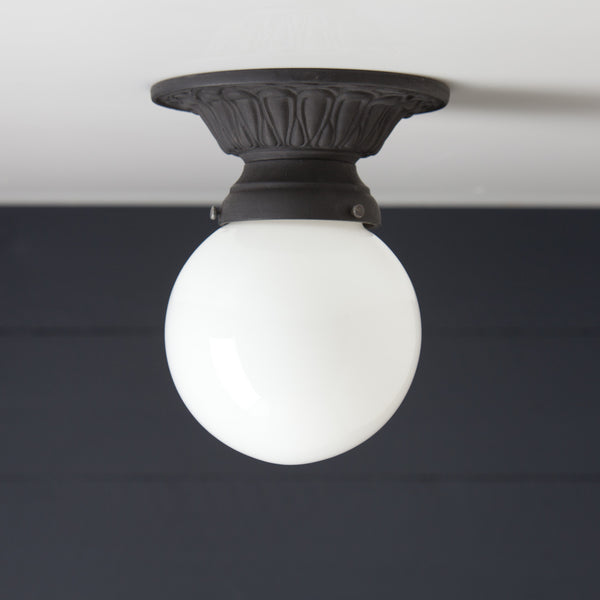 Milk Glass Globe Iron Ceiling Mount