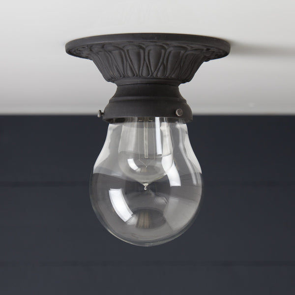 Teardrop Glass Shade Iron Ceiling Mount Light
