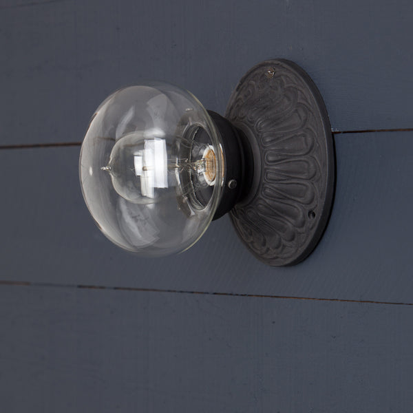 Cast Iron Clear Glass Shade Light