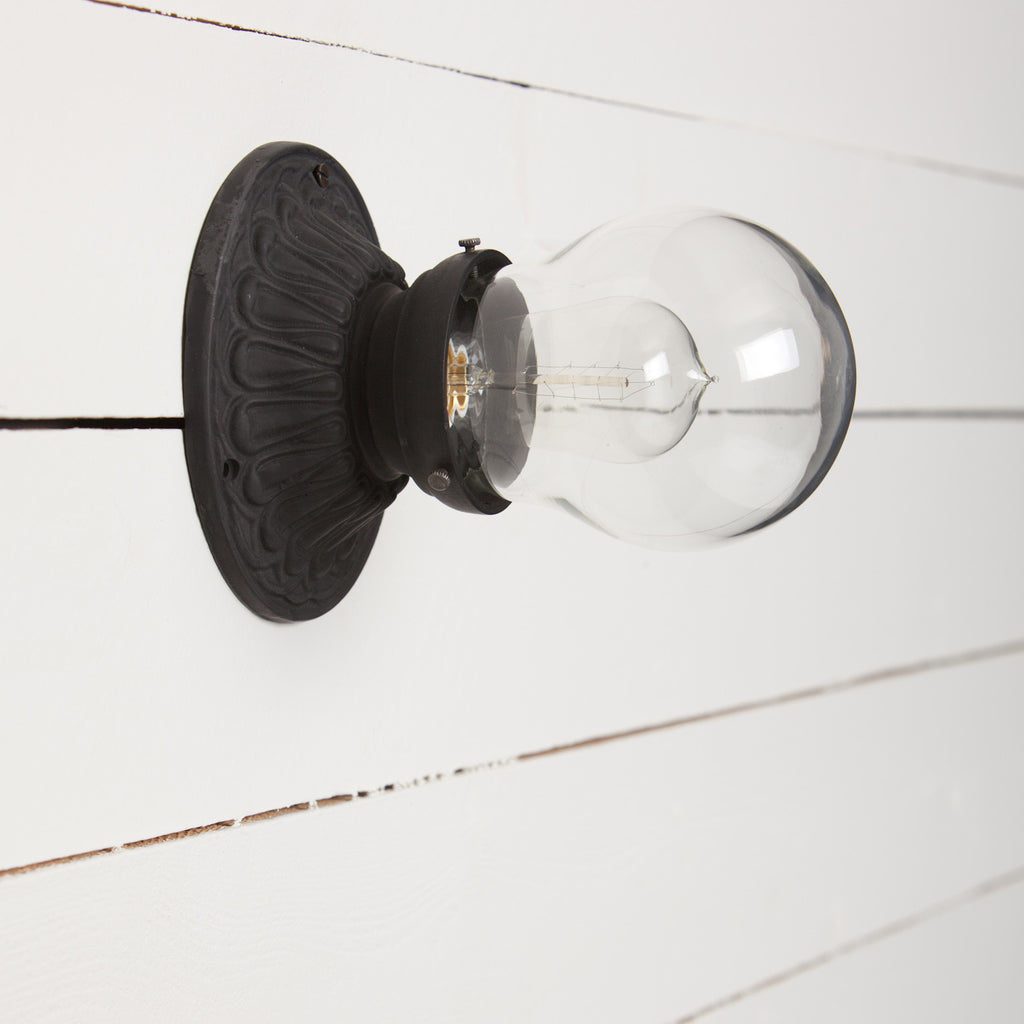 Teardrop Glass Shade Iron Sconce Light