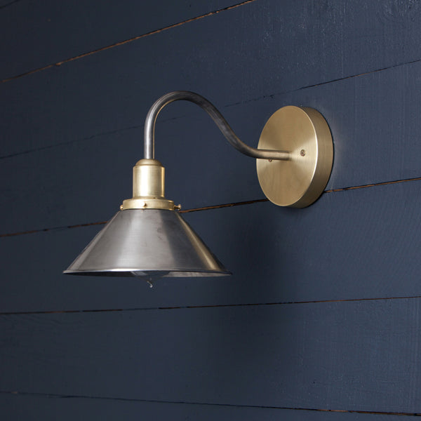 Mixed Metal Wall Sconce - Brass and Steel